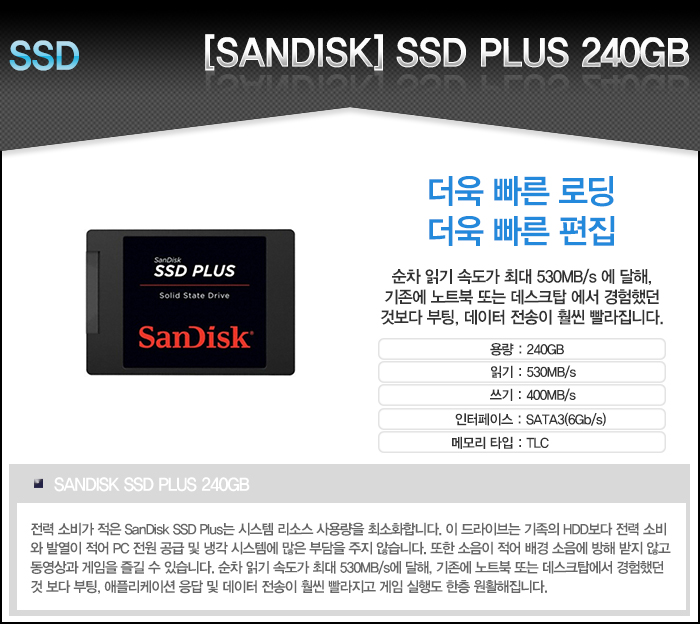 [Sandisk] NEW SSD PLUS (240GB)